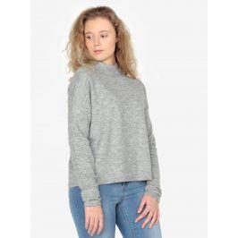 Světle šedý dámský žíhaný svetr se stojáčkem QS by s.Oliver