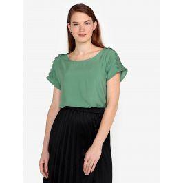 Tmavě zelené tričko s krajkou na ramenou VERO MODA Lacey