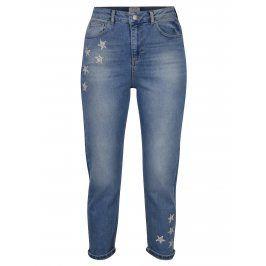 Modré zkrácené mom džíny s vysokým pasem Miss Selfridge