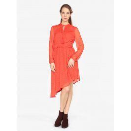 Červené asymetrické šaty s dlouhým rukávem VERO MODA Lotta