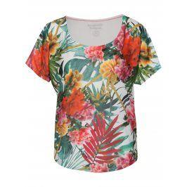 Bílé  tričko s květinovým vzorem Desigual Sport
