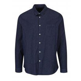 Tmavě modrá košile s bílými knoflíky Burton Menswear London