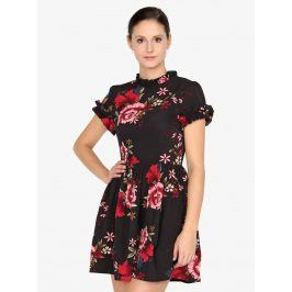 Černé květované šaty s krátkým rukávem AX Paris