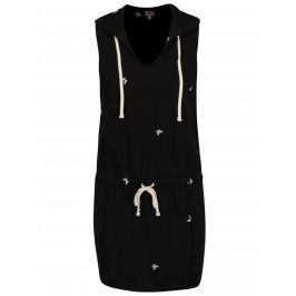 Černé šaty s kapucí a výšivkami motýlů Juicy Couture