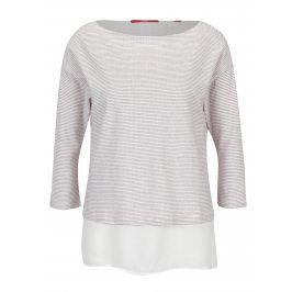 Světle růžové dámské pruhované tričko s 3/4 rukávem s.Oliver