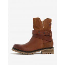 Hnědé dámské kožené kotníkové boty s umělým kožíškem Tommy Hilfiger Corey