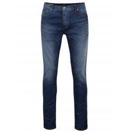 Modré slim fit džíny s vyšisovaným efektem Jack & Jones Tim Original
