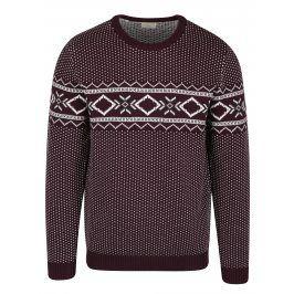 Krémovo-vínový svetr s norským vzorem Selected Homme Blizzard