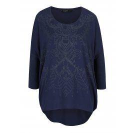 Tmavě modré tričko s třpytivým potiskem Desigual Deborah