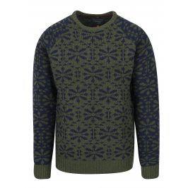 Modro-zelený vzorovaný slim fit svetr s příměsí vlny Blend