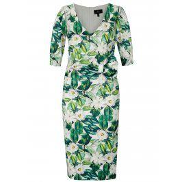Zelené květované pouzdrové šaty NISSA