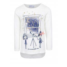 Krémové holčičí tričko s dlouhým rukávem a třpytivým potiskem 5.10.15.