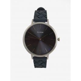 Dámské postříbřené hodinky s tmavě modrým silikonovým páskem Pilgrim