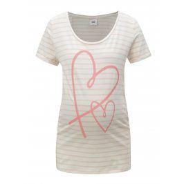 Růžovo-krémové pruhované těhotenské tričko Mama.licious Heart