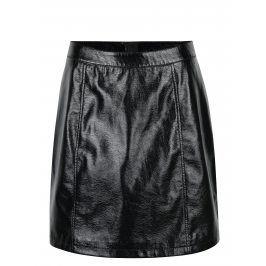 Černá lesklá koženková sukně VERO MODA Shine