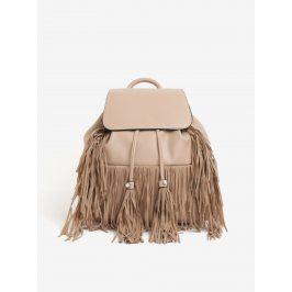 Béžový batoh s třásněmi Miss Selfridge