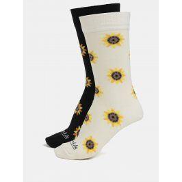 Béžovo-černé unisex ponožky s motivem slunečnice Fusakle Slnečnice