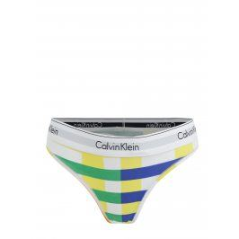 Zeleno-bílá pruhovaná tanga Calvin Klein
