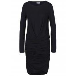Černé šaty s řasením VERO MODA Bina
