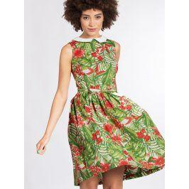Krémovo-zelené vzorované šaty s odnímatelným límečkem Blutsgeschwister