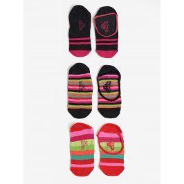 Sada tří párů holčičích pruhovaných kotníkových ponožek v růžové barvě Bóboli