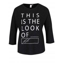 Černé tričko s potiskem a 3/4 rukávem QS by s.Oliver