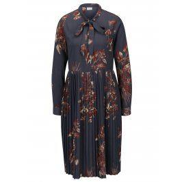 Šedé květované košilové šaty s plisovanou sukní VILA Pima