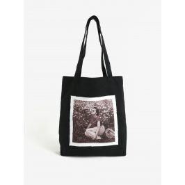 Černá plátěná taška s nášivkou retro paní La femme MiMi Teta Věra no.1