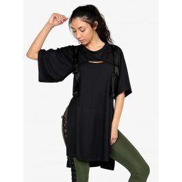 Černé tričko s průstřihem a rozparky Ivy Park