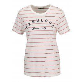 Krémové pruhované tričko s potiskem ONLY Kita