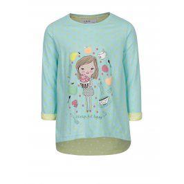 Modré puntíkované holčičí tričko s potiskem 5.10.15.