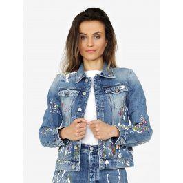Modrá dámská džínová bunda s potiskem Calvin Klein Jeans