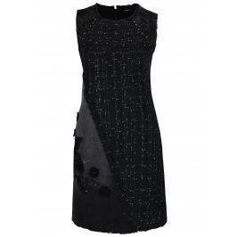 Černé šaty bez rukávů a jemným třpytivým vzorem Desigual Achille