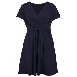 Tmavě modré šaty s překládaným výstřihem Dorothy Perkins Curve