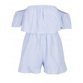 Světle modrý pruhovaný krátký overal Miss Selfridge Petites