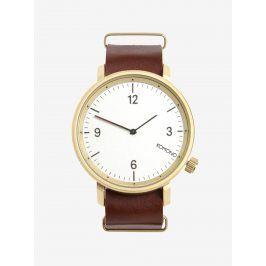 Unisex hodinky ve zlaté barvě s koženým páskem Komono Magnnus