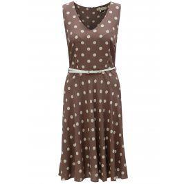 Světle hnědé puntíkované šaty s páskem Billie & Blossom