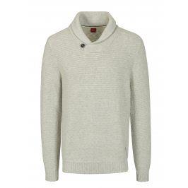 Krémový žíhaný pánský svetr s límcem s.Oliver