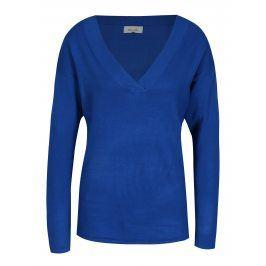 Tmavě modrý lehký oversize svetr s véčkovým výstřihem Blendshe Shana
