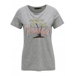Šedé žíhané tričko s flitry a výšivkou Dorothy Perkins
