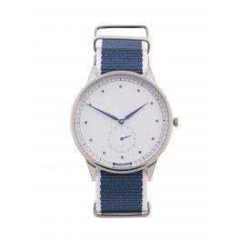 Pánské hodinky ve stříbrné barvě s bílo-modrým textilním páskem HYPERGRAND