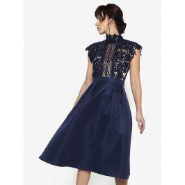 Tmavě modré šaty s krajkovým topem a stojáčkem Little Mistress