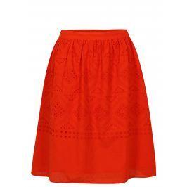 Červená sukně s madeirou VILA Simmi