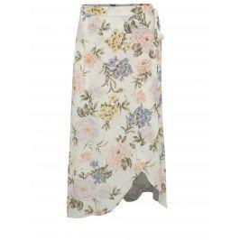 Krémová květovaná zavinovací midi sukně Miss Selfridge