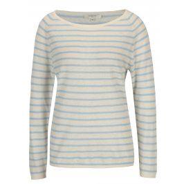 Béžový lněný svetr se světle modrými pruhy Selected Femme Nive