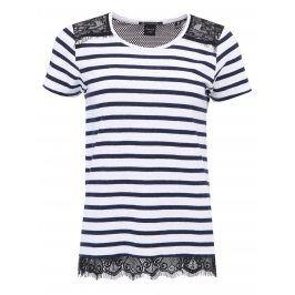 Modro-bílé pruhované triko s černou krajkou Scotch & Soda