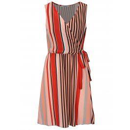 Meruňkové pruhované šaty s překládaným výstřihem Haily´s Laura