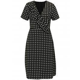 Černé puntíkované šaty s překládaným výstřihem MISSGUIDED