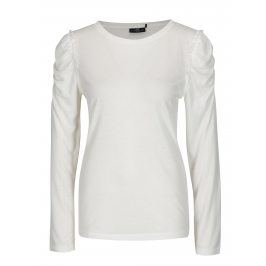 Krémové tričko s řasením na ramenou Jacqueline de Yong Fanny