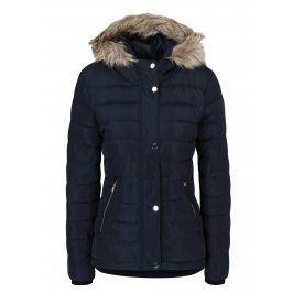 Tmavě modrá prošívaná zimní bunda s umělou kožešinou Dorothy Perkins
